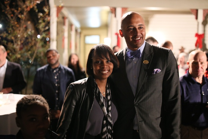 Mayor Ivy Taylor and District 2 Councilmember Alan Warrick pose for a photo after the District 2 runoff election. Photo by Scott Ball.