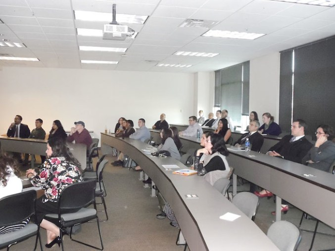 Community members and leaders take time out of their busy schedules to listen to the findings presented by Dr. Romero's Contemporary Issues in Public Administration class. Photo by Michelle Skidmore.