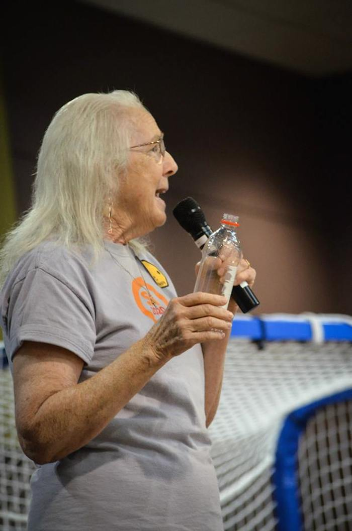 Patti Radle, SA2020 board member, at the SA2020 Progress Luncheon on September 25, 2014, asks people to stop using plastic, single-use water bottles. Photo courtesy of SA2020.