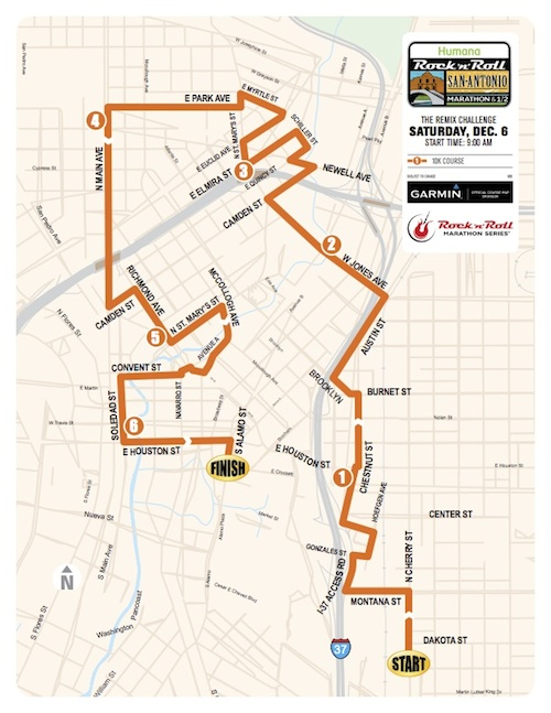 rock n roll marathon Saturday 10k 2014 course map