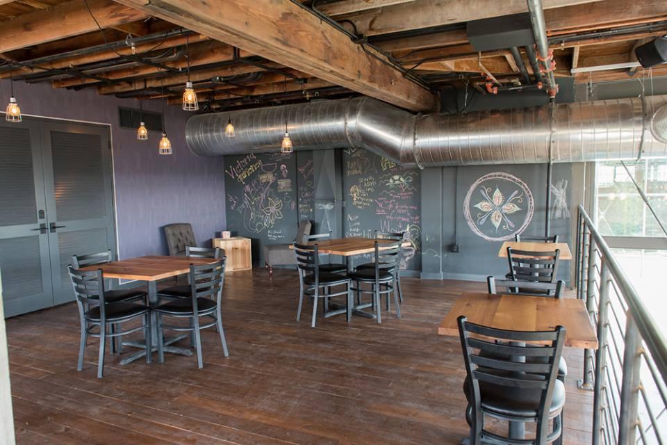Loft level at Rosella. Photo by David Rangel for Rosella Coffee Company.