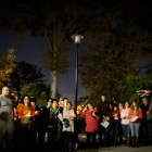 Mark Hall speaks to a crowd of more than 50 gathered for a candlelight vigil on the one year anniversary of Cameron Redus' death. Photo by Scott Ball.