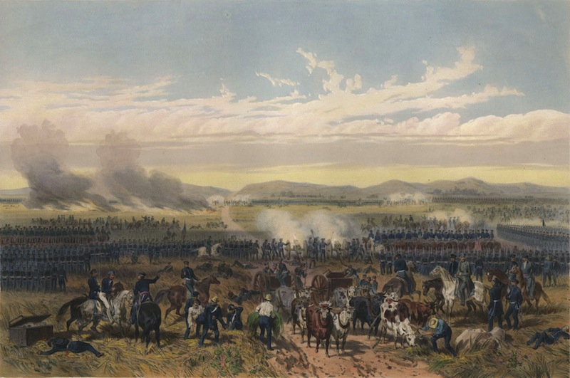"""May 8, 1846, U.S. forces under Gen. Zachary Taylor use their """"flying artillery"""" to devastating effect against the Mexican line at the Battle of Palo Alto. Painting """"The Battle of Palo Alto"""" by Carl Nebel."""