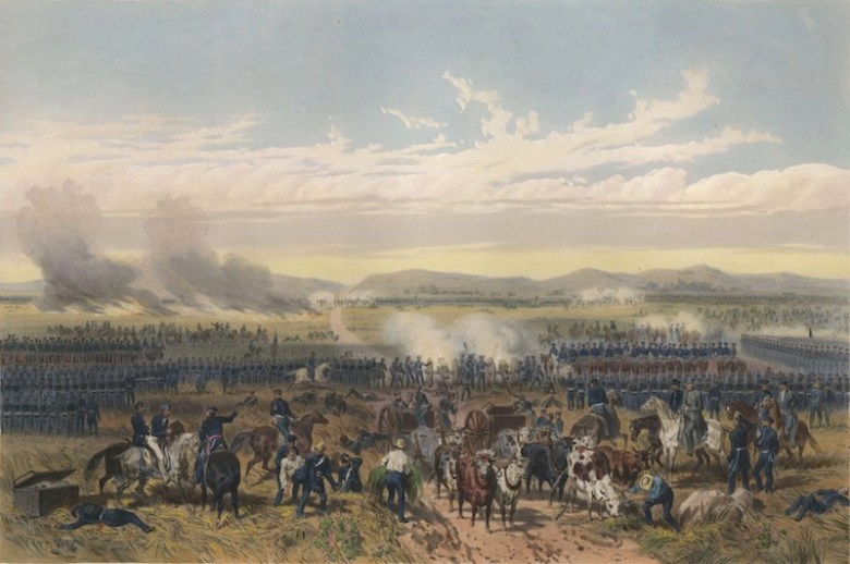 "May 8, 1846, U.S. forces under Gen. Zachary Taylor use their ""flying artillery"" to devastating effect against the Mexican line at the Battle of Palo Alto. Painting ""The Battle of Palo Alto"" by Carl Nebel."