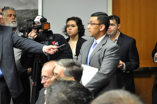 District 7 Councilmember Cris Medina calls for full Council consideration of the lawsuit against the police and fire union contract. Photo by Iris Dimmick.
