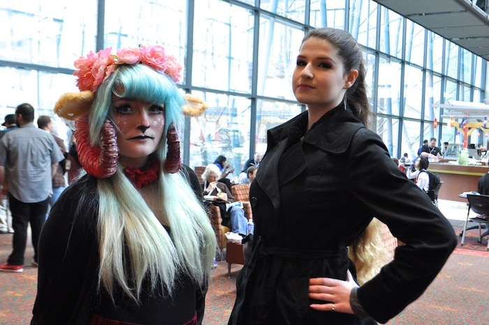 Two attendees pose for a photo during PAX South. Photo by Iris Dimmick.