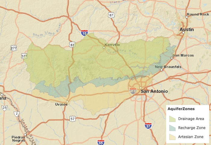 Map of the Edwards Aquifer recharge zone from the ArcGIS mapping tool.