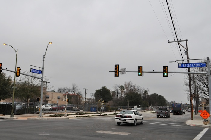 The corner of East César E. Chávez and South Flores Street will soon be home to an H-E-B grocery store and gas station. Photo by Iris Dimmick.