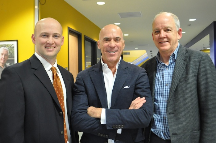 From left: Crockett Urban Venture President Patrick Shearer, hotel property owner and developer Chris Hill, Lake/Flato Principal David Lake after the HDRC vote to approve preliminary designs of Hill's downtown hotel. Photo by Iris Dimmick.