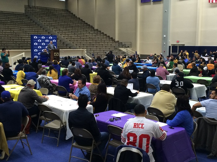 SAISD Superintendent Sylvester Perez address the Fathers in Action luncheon at Alamo Convocation Center. Photo by Bekah McNeel.