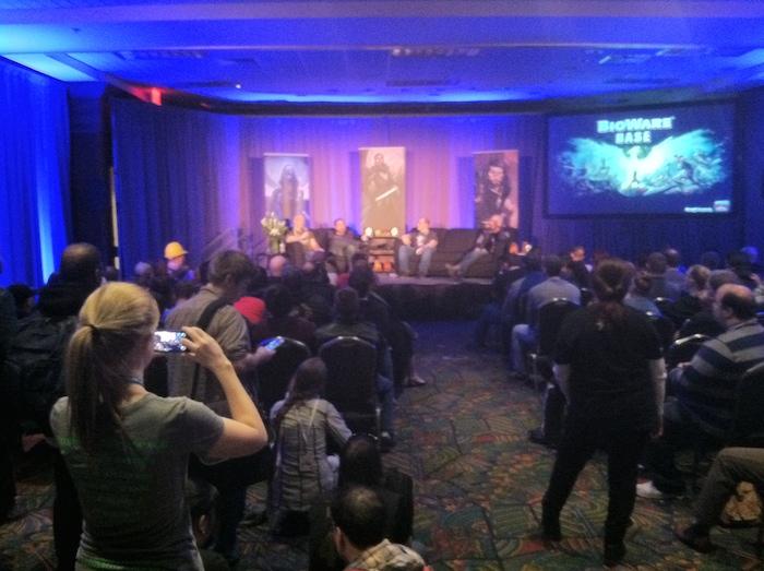 Representatives from game development studio Bioware talk about their latest project. Photo by Samuel Jensen.