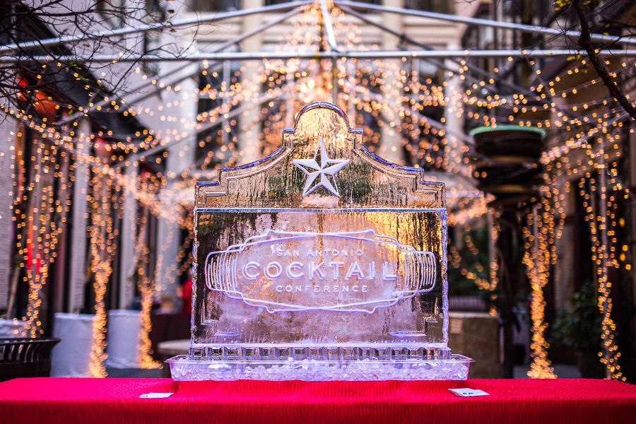 The SACC ice sculpture at the SACC Stroll on Houston Street. Photo by Scott Ball.