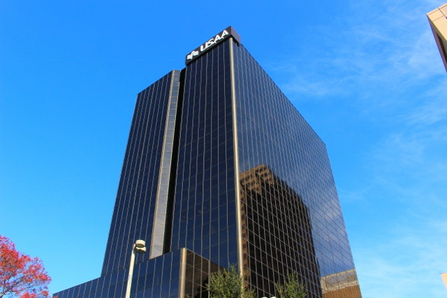 One Riverwalk Place now features USAA signage. Photo by Page Graham.