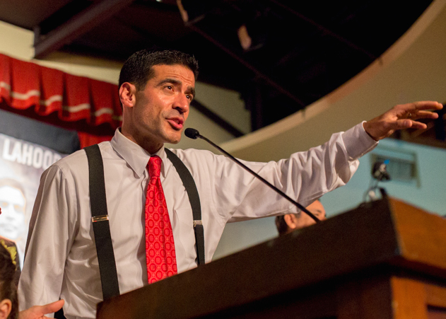 "Nicholas ""Nico"" LaHood addresses supporters on election night on Nov. 4, 2014. Photo by Scott Ball."
