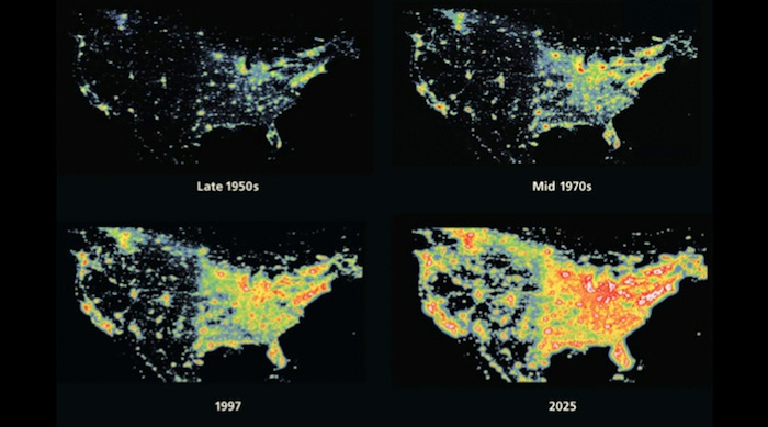 Light pollution's past and future in the U.S. Image courtesy of McDonald Observatory.