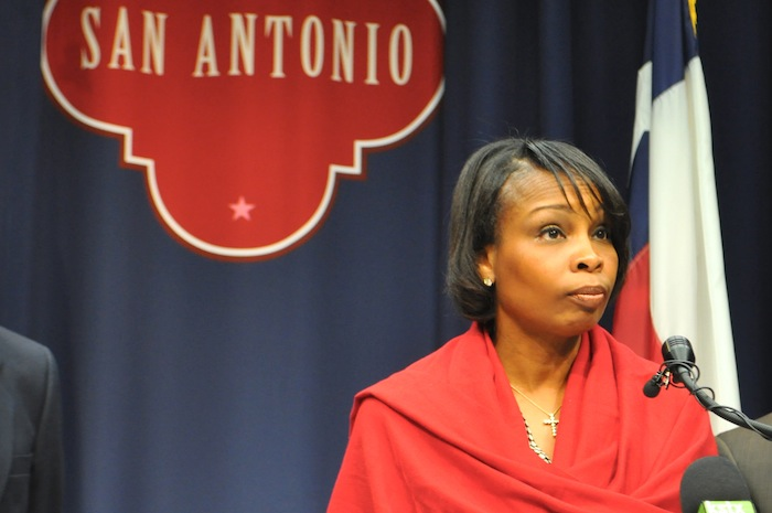 Mayor Ivy Taylor calls for and end to personal attacks during the police union contract negotiations in December 2014. Photo by Iris Dimmick.