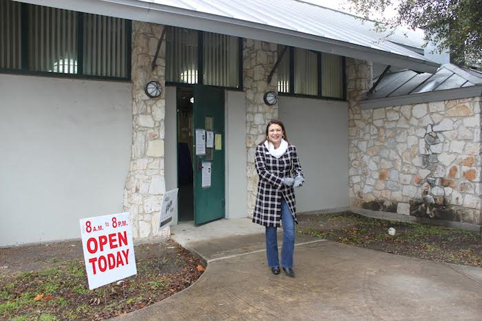 Texas House District 123 candidate Melissa Aguillon leaves her polling station after casting her vote. Courtesy photo.