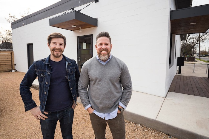 Merit Roasting Co. owner Robby Grubbs (right) and Head Roaster Andrew Schulz. Photo by Scott Martin.
