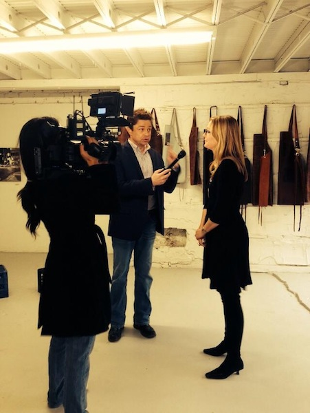 Michele Jacob talks with media during the AMA Collective pop-up event at Milam Builidng. Courtesy photo.