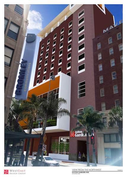 Rendering of Hilton Garden Inn planned for Houston Street. Image courtesy of WestEast Design Group.