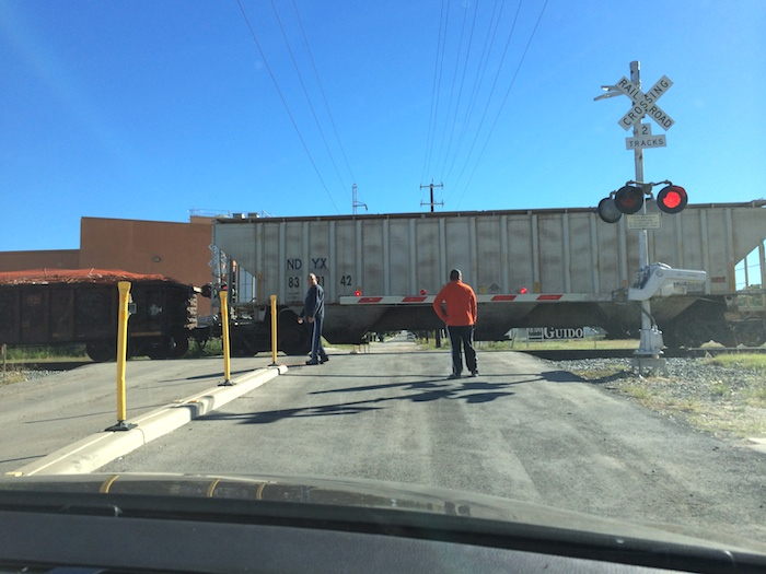 Yet another stopped train at the crossing on Lamar Street. Photo by Bekah McNeel.