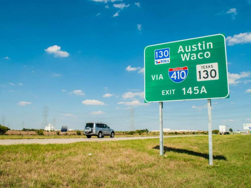 SH 130 signage. Photo courtesy of SH 130 Concession Company.