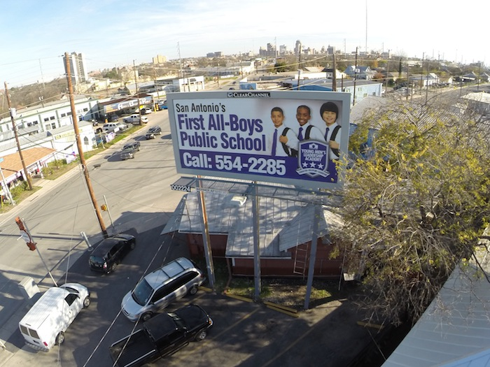 Young Men's Leadership Academy advertisement along the Martin Luther King, Jr. march route in the Eastside. Courtesy photo.
