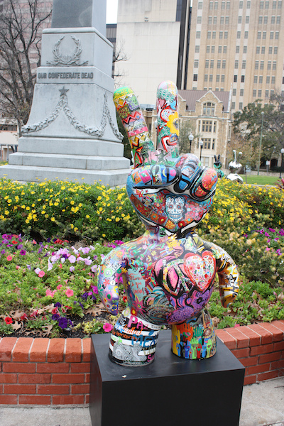 Sculpture in Travis Park by Elisa Romano. Photo by Kay Richter.