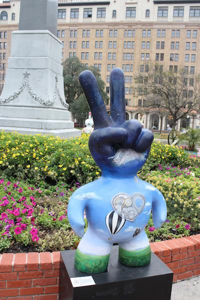 Sculpture in Travis Park designed by Liz Zabroky. Photo by Kay Richter.