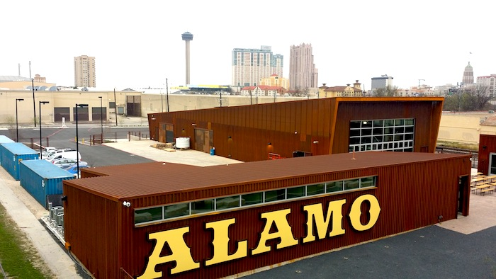 The Alamo Beer Company brewery as seen from the Hays Street Bridge. Photo by Iris Dimmick.