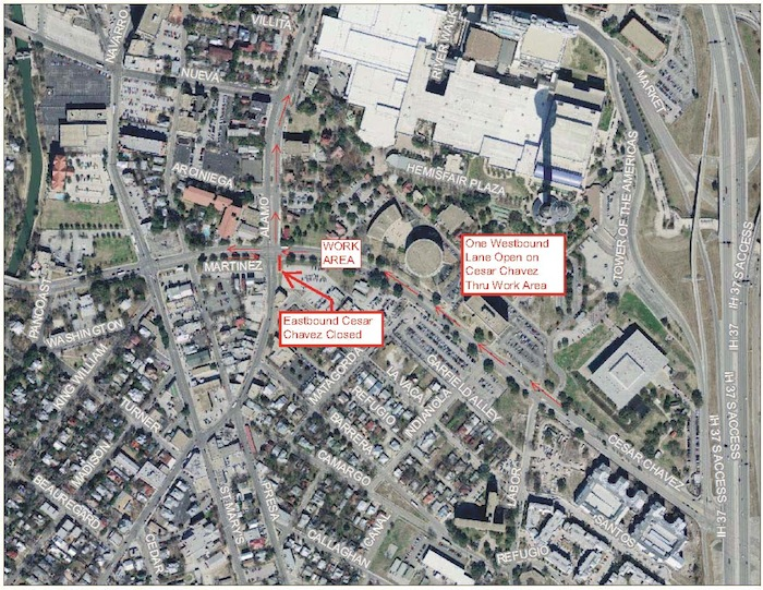 Map of weekend closures and detours courtesy of the City of San Antonio.