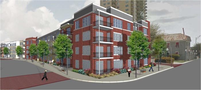 The Crockett Street Urban Lofts will arise at 243 Center St., boasting 268 apartment units. Rendering courtesy of NRP.