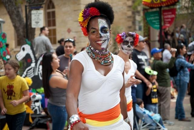 A woman celebrates Día de los Muertos at La Villita. Photo courtesy of the City of San Antonio.