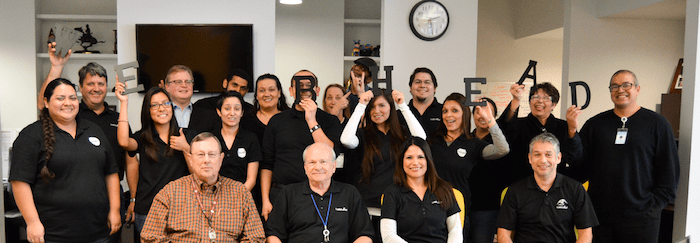 Webhead headquarters staff pose for a fun photo at the beginning of a busy year. Photo courtesy of Webhead.