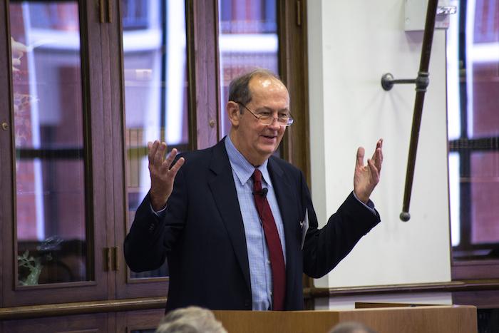 Former Senator Bill Bradley gives the keynote speech during Trinity University's REACH Symposium. Photo courtesy Parish Photography.