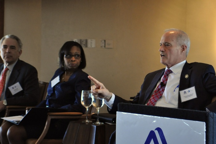 Tommy Adkisson speaks during the mayoral candidate forum at the Plaza Club on Wednesday. Photo by Iris Dimmick.