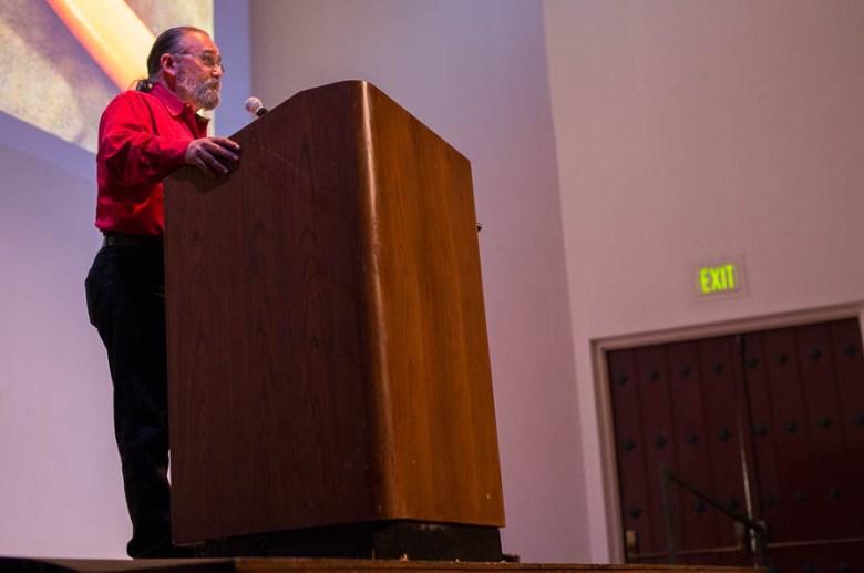 Larry Wedige at PechaKucha 17.  Photo by Scott Ball.