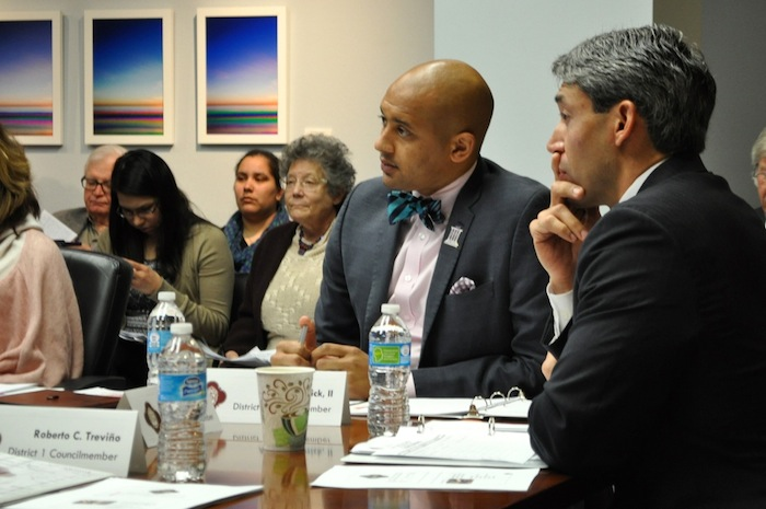 Council members Ron Nirenberg (D8, right)) and Alan Warrick II (D2) listen to recommendations from the gentrification task force. Photo by Iris Dimmick.