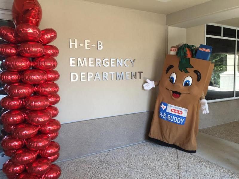 H-E-Buddy stops by the Children's Hospital of San Antonio for the announcement of a $5 million gift from H-E-B.