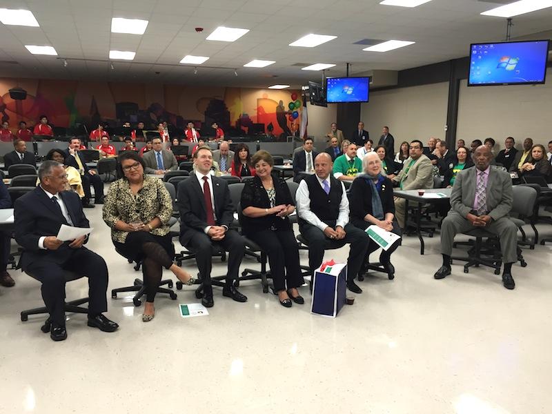 Members of the SAISD Board of Trustees sit together for the 2015 Board Appreciation Day (from left): Arthur V. Valdez (D4), Debra Guerrero (D3), Steve Lecholop (D1), Board Vice President Olga Hernandez (D6), Board President Ed Garza (D7), Patti Radle (D5), and James Howard (D2).
