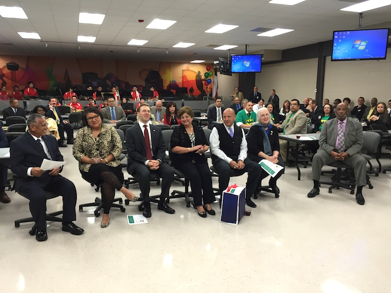 Members of the SAISD Board of Trustees sit together for the 2015 Board Appreciation Day (from left): Arthur V. Valdez (D4), Debra Guerrero (D3), Steve Lecholop (D1), Board Vice President Olga Hernandez (D6), Board President Ed Garza (D7), Patti Radle (D5), and James Howard (D2).