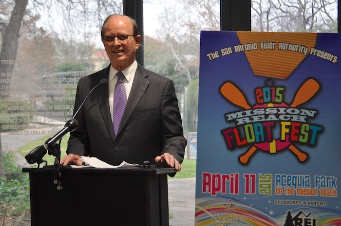 Bexar County Judge Nelson Wolff will serve as grand marshal for the inaugural Mission Reach Float Fest scheduled for April 11, 2015. Photo by Iris Dimmick.