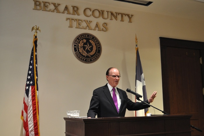 Bexar County Judge Nelson Wolff announces the new coalition formed to reduce sugar intake. Photo by Iris Dimmick.