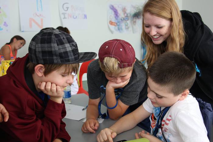 Volunteer Nicole Garbarino directly engaged the students during her first summer with VentureLab. Courtesy photo.