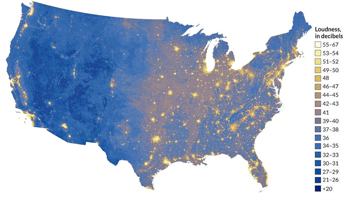 Noise map courtesy of the National Park Service's Natural Sounds and Night Skies Division.