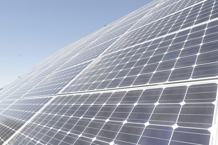 An n-type solar panel created at Mission Solar, located on the Southside of San Antonio. Photo courtesy of CPS Energy.