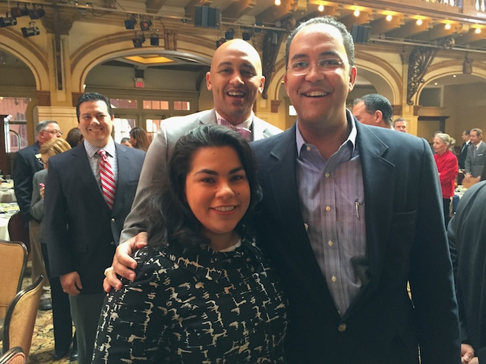 (From right) U.S. Rep. Will Hurd poses for a photo with Councilmember Rebecca Viagran (D3) and Alan Warrick II (D2) and John Michael Rangel. Photo by Robert Rivard.