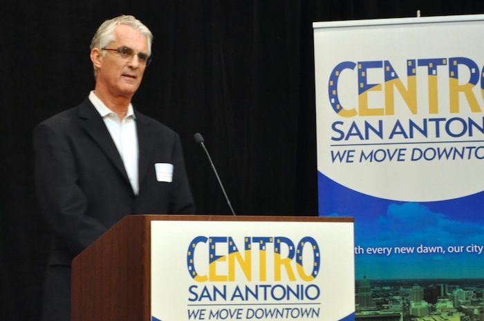 Steel House Lofts owner Dennis McDaniel speaks at the Centro San Antonio luncheon on historic preservation. Photo by Iris Dimmick.