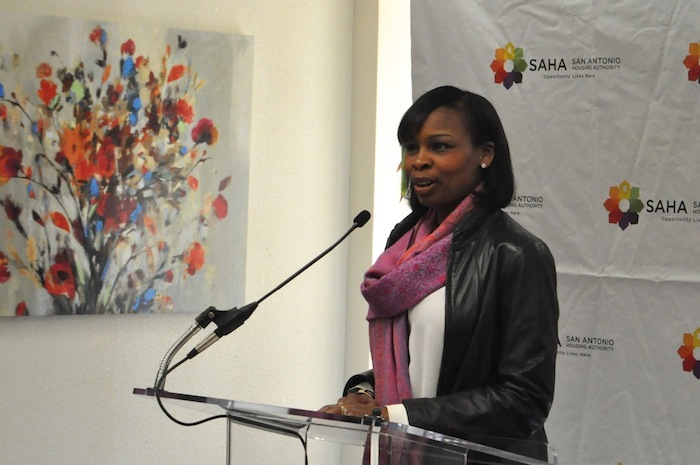 Mayor Ivy Taylor speaks at the grand opening of SAHA's Lofts at Marie McGuire. Photo by Iris Dimmick.