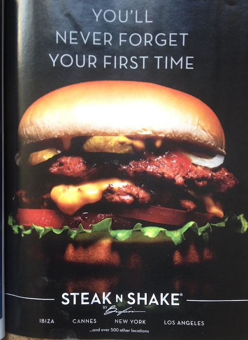 An advertisement for Steak N Shake in the March 2015 issue of Maxim.